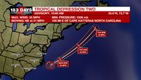 Tropical Depression Two forms off the coast of North Carolina