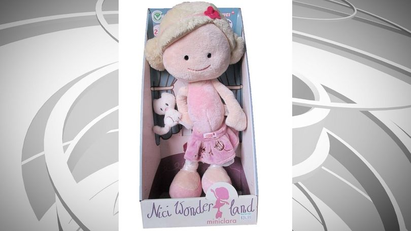 W.A.T.C.H. says the soft, plush kitten that comes with this doll can detach, posing the potential for choking if ingested.