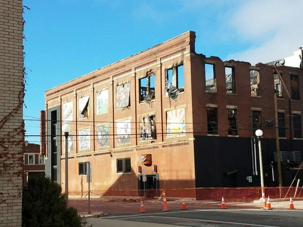 Exterior walls of the Kirksville Arts Center still stand Monday following the weekend blaze that ravaged much of the building. (Photo provided by Colton Hart)