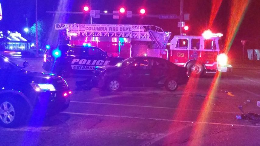 Several fire trucks and ambulances responded to a crash at the intersection of Smiley and Range Line streets.