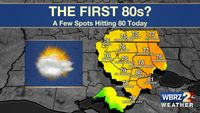 Some areas hitting 80 degrees today, More 80s this weekend