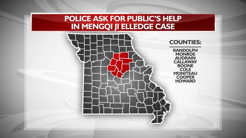 Police say Joseph Elledge drove through these surrounding counties on the day of Mengqi Ji's disappearance. Anyone with information is asked to call Columbia Police at (573) 874-7652, or CrimeStoppers at (573) 875-TIPS to remain anonymous.