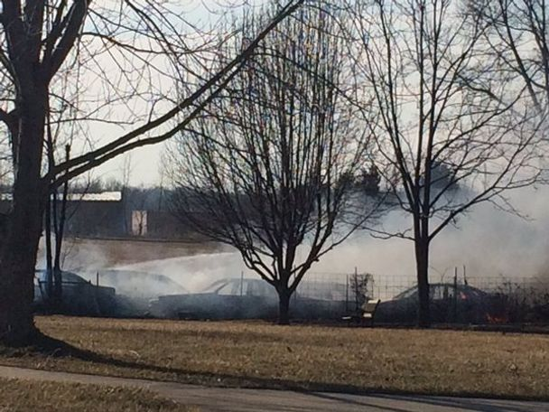 Fire was at Marcy Motors overflow lot off Old Hwy 40.