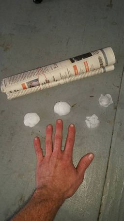 Eli Kane Kramer shared a photo of ping pong ball sized hail.