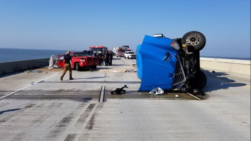 Two injured in 18-wheeler crash on Twin Span