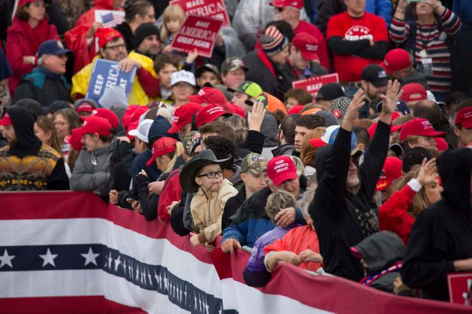 The most common pieces of gear at the rally are red MAGA hats. President Donald Trump ended his speech promising Missouri he will, in fact,
