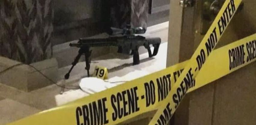Pictured: One of the weapons used in the 2017 Las Vegas Massacre. The shooter used bump stocks on his rifles.