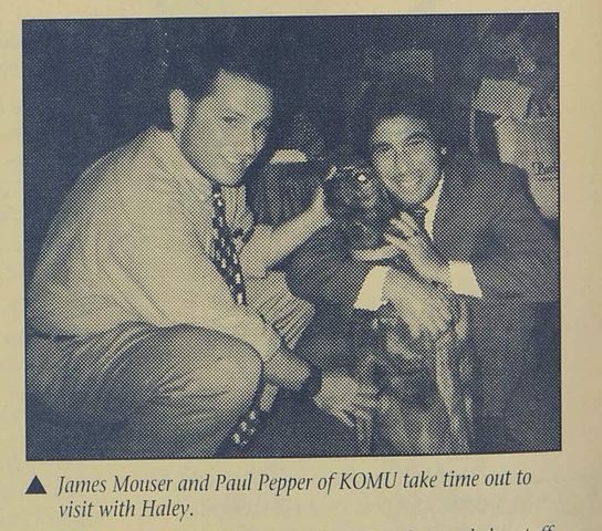 A clipping from the Central Missouri Humane Society's quarterly news letter from the 1980-1990s, featuring two KOMU alums.