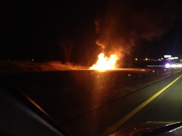 Semi-Truck Catches Fire on I-70