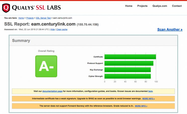 Qualys test results from CenturyLink's online bill payment webpage.