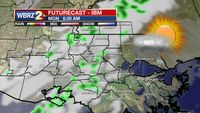 Weak front will bring a few showers Monday morning