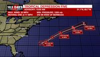 Tropical Depression Five develops over the western Atlantic