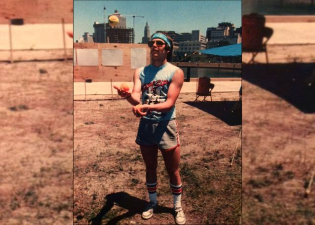 Photo of Derrick Fogle juggling at a 1986 Texas State Footbag Tournament. Photo courtesy: Derrick Fogle