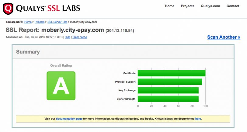 Qualys test results from the city of Moberly's online bill payment webpage as of July 5, 2016.