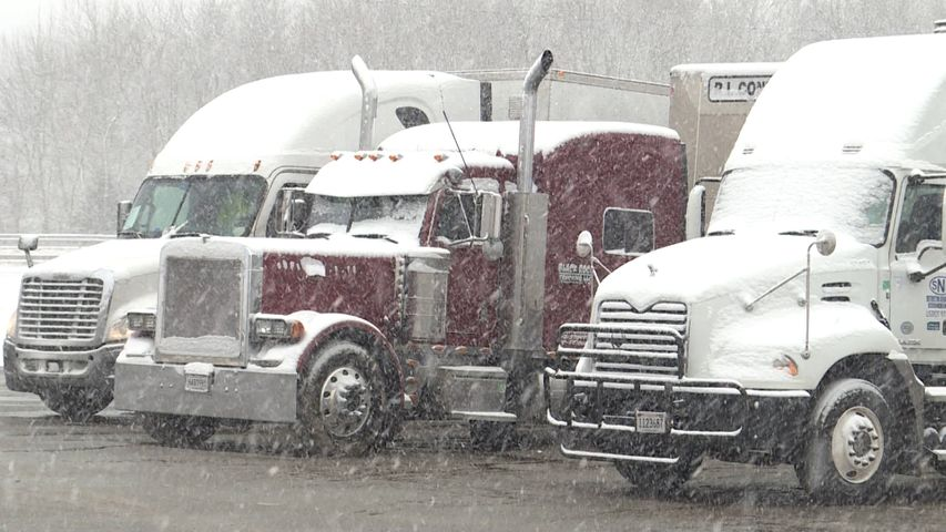 Some truck drivers decided to stay overnight in Columbia to avoid traveling in snow storm.