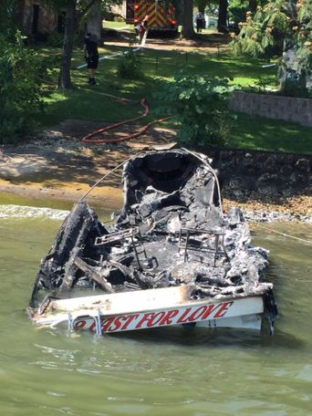 The boat was listed as totally damaged by the Missouri State Highway Patrol. Images are courtesy of Missouri State Highway Patrol Sgt. Scott White.