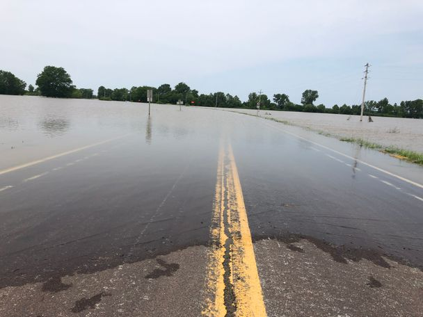 All the roads leading to New Franklin are covered with floodwaters.