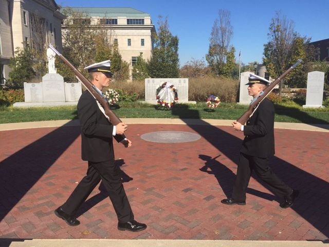 Two Air cadets guard war memorials in front of Boone County Courthouse on November 4, 2016.