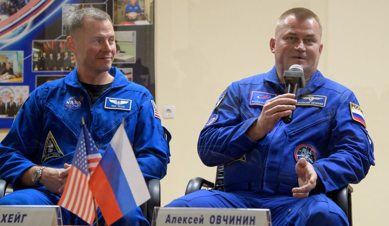 NASA astronaut Nick Hague and Russian cosmonaut Alexey Ovchinin