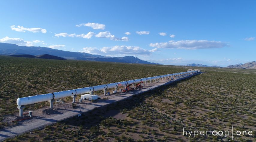 A prototype of the hyperloop tube system at the Virgin Hyperloop One test facility in Nevada.