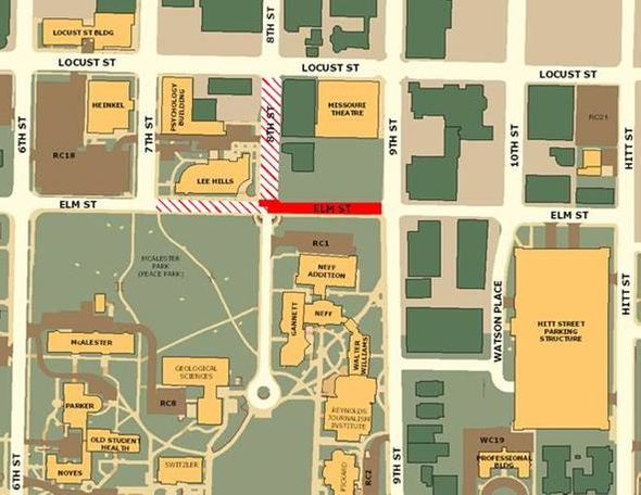 Map of Road closing for 8th and Elm St.