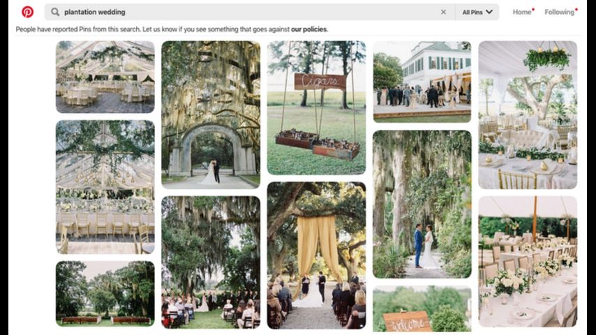 Pinterest, The Knot to stop promoting plantation weddings