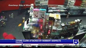 Surveillance video shows masked man point gun... Surveillance video shows masked man point gun at store clerk in Mission