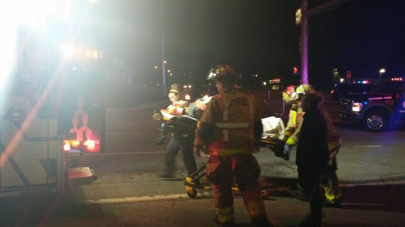 An ambulance took on person who was involved in the crash to Boone Hospital Center.