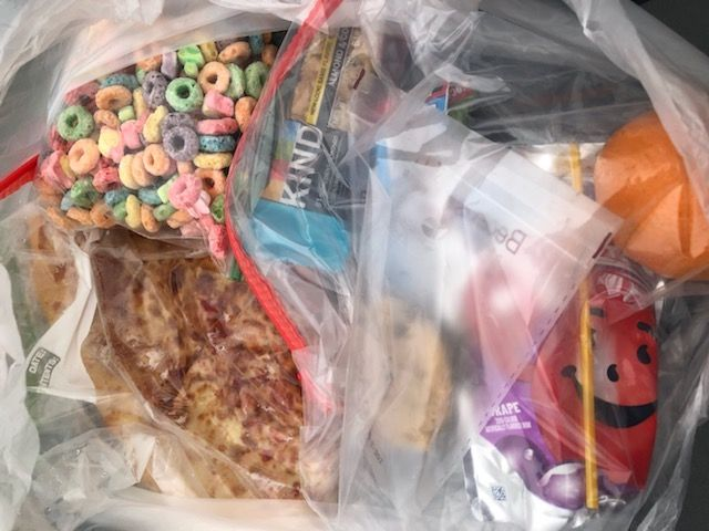 Bags of food prepared to donate to children.