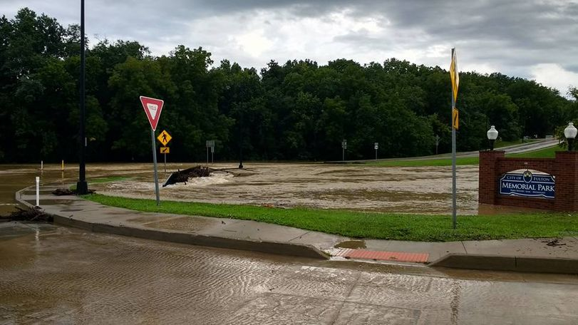 Memorial Park in Fulton, Missouri was flooded on August 2, 2016. Photo/Michael Rogers.