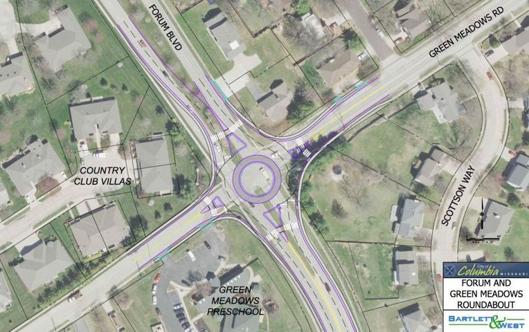 Proposed designs for the intersection at Forum Boulevard and Green Meadows Road include a roundabout. It would feature splinter islands and side walks. It would cost an estimated $1.2 million.