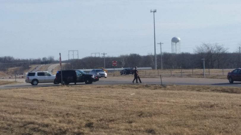 Columbia police prepared to throw out spike strips on northbound Highway 63 near the KOMU 8 station.