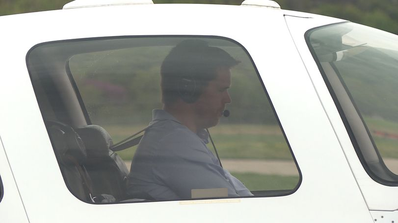 State Treasurer Scott Fitzpatrick prepares to depart from the Jefferson City Municipal Airport.