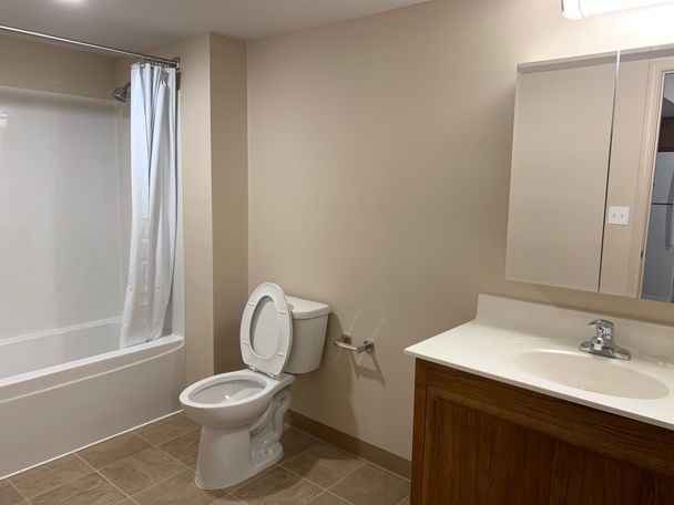 An example bathroom of the newly-renovated units.