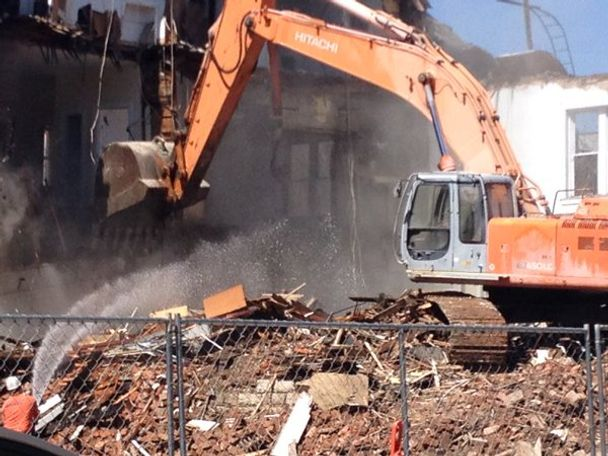 A majority of the building was reduced to rubble by early afternoon Monday.