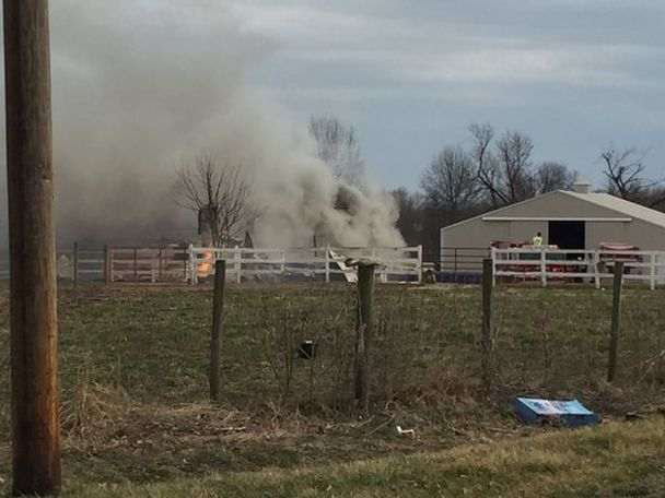 Multiple barns were on fire.