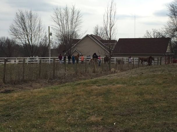 People close to the barn huddled horses together away from the fire.