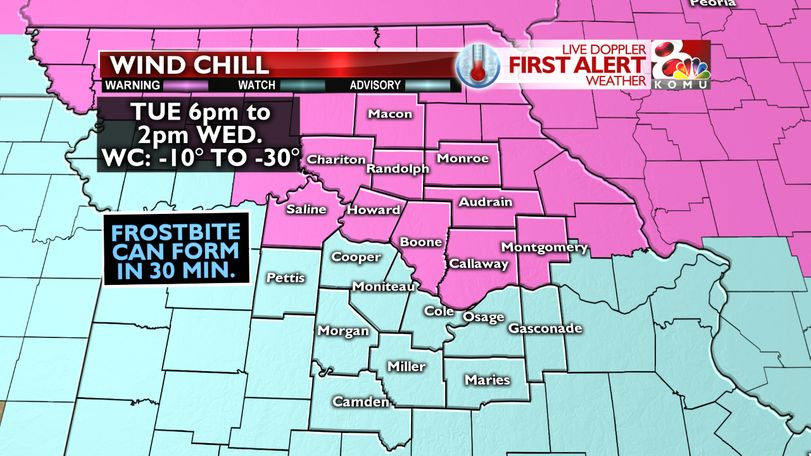 Wind Chill warnings and advisories are in effect.