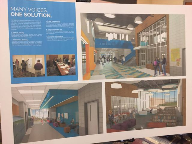 Columbia Public Schools invited the public to view the initial renderings of the new middle school.