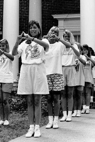 Alpha Delta Pi and Tri-Delta sorority rush, 1989