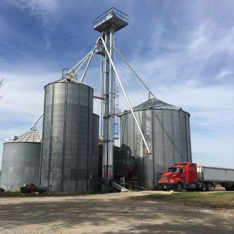 These bins on Dennis Schneider's farm near Corder, Missouri, were the scene of a grain entrapment accident and rescue in December of 2015.