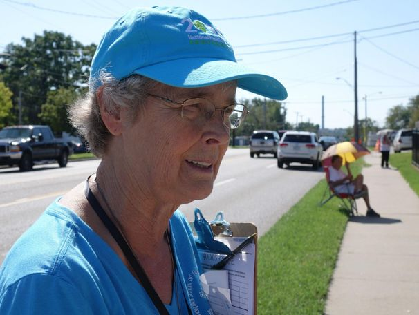 Carol Fick stands outside Planned Parenthood with other 40 Days for Life activists in Columbia, Mo., on Monday, Sept. 30, 2019. The organization puts the event together every year; the goal is to be a constant, peaceful presence at clinics in the hopes that they will end abortion according to their website.