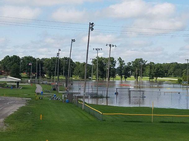 Another baseball field flooded in Mexico, Missouri. Photo/Jody Fetterhof