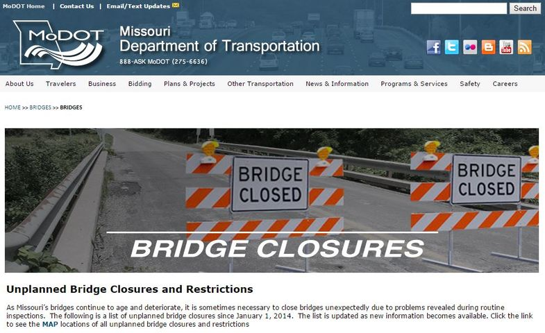 MoDOT launches web page for updates on bridge closings
