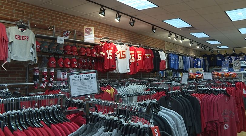 Restocked Chiefs attire at Rally House in Columbia.