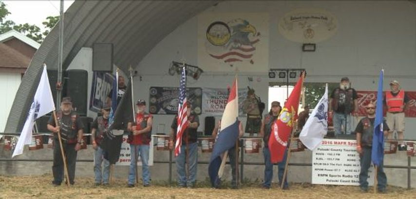 Motorcycle rally holds honor guard ceremony